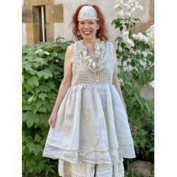 dress PIA pale blue crochet and ecru organza