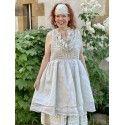dress PIA pale blue crochet and ecru organza