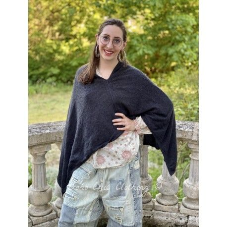 poncho Handmade Cashmere in Charcoal