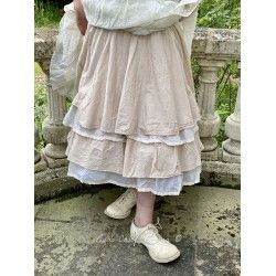 skirt petticoat JENNYFER pink beige striped cotton and ecru organza