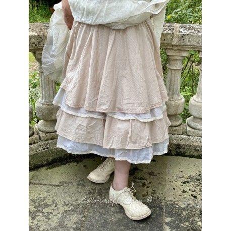 skirt petticoat JENNYFER pink beige striped cotton and ecru organza