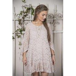 robe Fanny en coton et dentelle rose