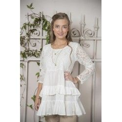 tunic Fanny in White Cotton