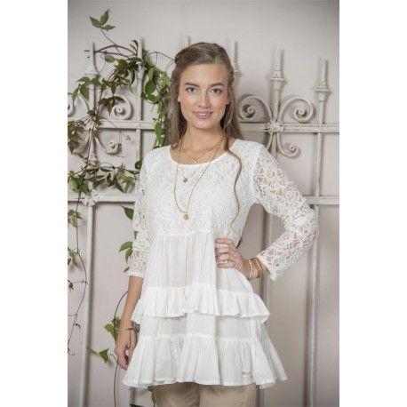 tunique Fanny en coton et dentelle blanche
