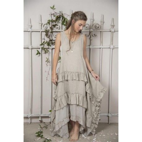 Robe Julie in Natural linen