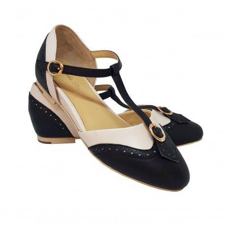 chaussures Parisienne Noir/Ivoire