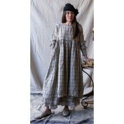 dress ELISE black checked linen