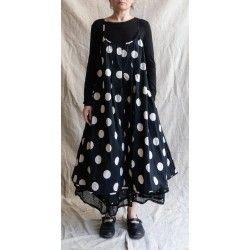 robe ELOISE popeline de coton noir à gros pois blanc