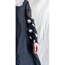 manchettes BLANDINE popeline de coton noir à gros pois blanc