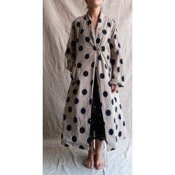 manteau long JEANETTE popeline de coton taupe à gros pois noir