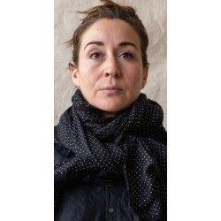 foulard PAULINE voile de coton noir à petits pois blanc
