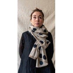 foulard PAULINE popeline de coton taupe à gros pois noir