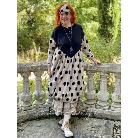 robe ANNICK popeline de coton taupe à gros pois noir Les Ours - 1