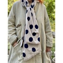 scarf PAULINE taupe cotton poplin with large black dots