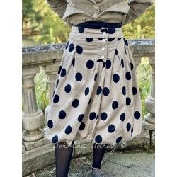 puffball skirt ANGELE taupe cotton poplin with large black dots