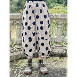 pantalon GUS popeline de coton taupe à gros pois noir