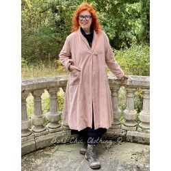 manteau long JEANETTE velours côtelé rose