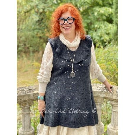 tunic JUDITH dark grey cashmere wool Les Ours - 1