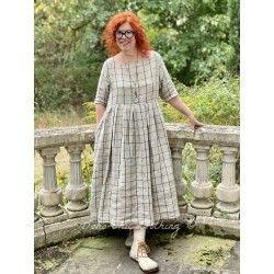 dress MARJOLAINE black checked linen