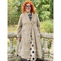 long coat JEANETTE khaki corduroy