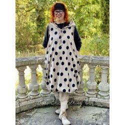 robe boule LEONIE popeline de coton taupe à gros pois noir