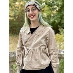 wrap jacket MAYA taupe cotton poplin