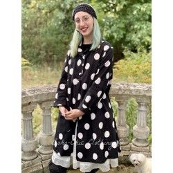 jacket SUZANNE black cotton poplin with large white dots