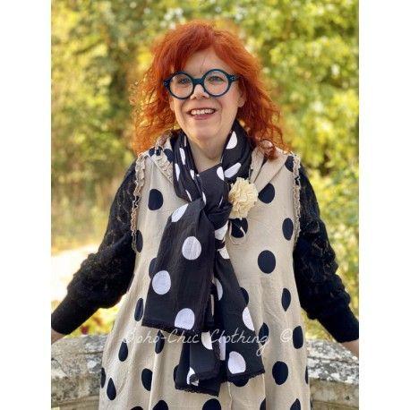 foulard PAULINE popeline de coton noir à gros pois blanc