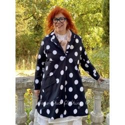 veste SUZANNE popeline de coton noir à gros pois blanc