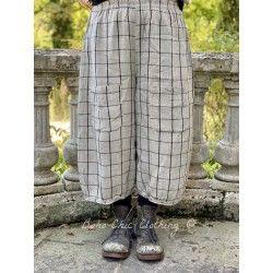 pantalon GUS lin naturel à carreaux noirs