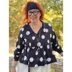 veste cache cœur MAYA popeline de coton noir à gros pois blanc