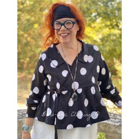 veste cache-coeur MAYA popeline de coton noir à gros pois blanc Les Ours - 1
