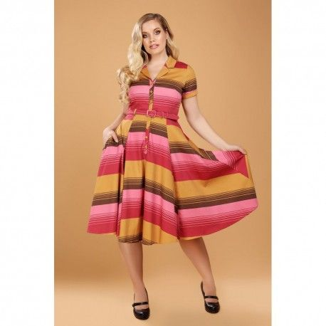 robe Caterina Sunset Stripes Collectif - 1