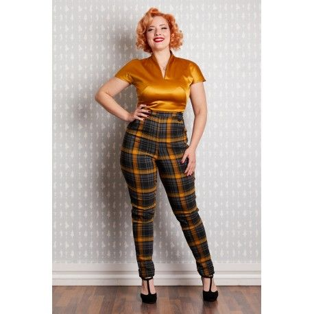 pantalon Luca Mustard Tartan Miss Candyfloss - 1