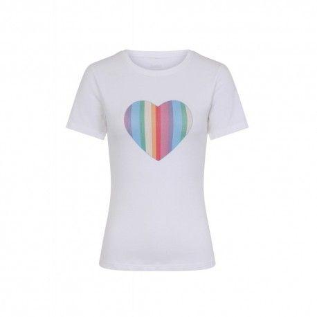 T-shirt Rainbow Love Blanc Collectif - 1