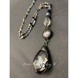 Collier Crystal in Smoky teardrop