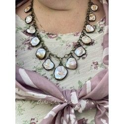 Necklace Keshi pearls in Mother of pearl