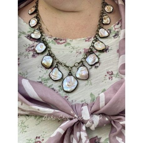 Necklace Keshi pearls in Mother of pearl DKM Jewelry - 1