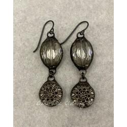Earrings  in Silver Button