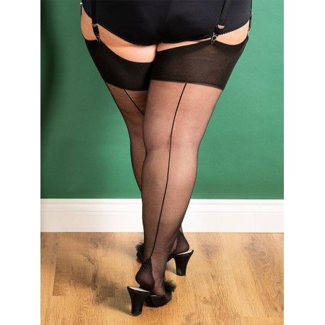 Stockings Curve H2081 Black and Black seam What Katie Did - 1