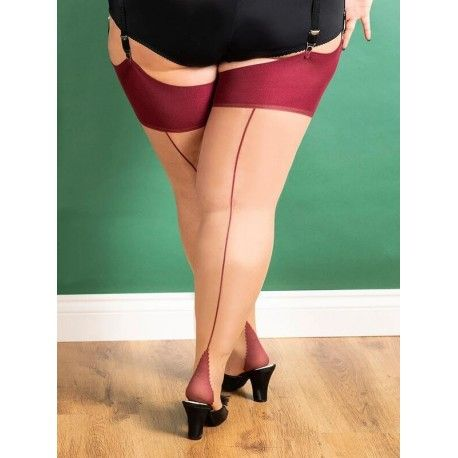 Stockings Curve H2079 Champagne and Claret seam What Katie Did - 1