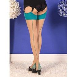 Stockings H2070 Champagne and Teal seam