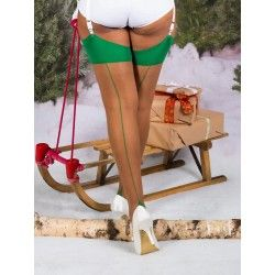 Stockings H2055 Nutmeg and Green seam