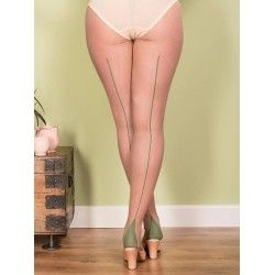 Tights H2048 Champagne and Green seam
