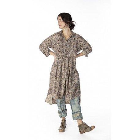 shirt-dress Cordelia in Kalamkari Magnolia Pearl - 1