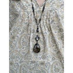 Necklace Crystal in Smoky teardrop