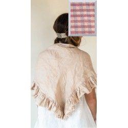 triangle scarf MALOE purple gingham linen