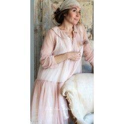 chemise longue MARIE tulle de coton rose à pois
