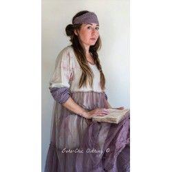 robe MATHILDA coton fleurs avec tulle de coton prune à pois