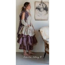 tunic ANOOK floral cotton and plum organza